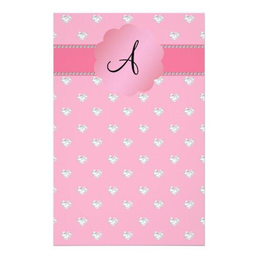 Monogram pink diamonds hearts stationery design