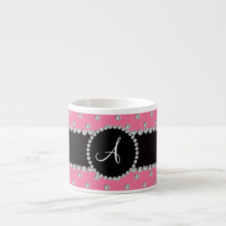 Monogram pink diamonds polka dots espresso mugs
