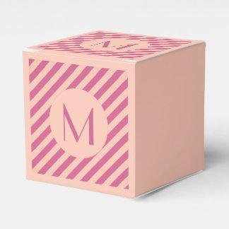 Monogram Pink Dusk and Fuchsia Stripes Favour Box