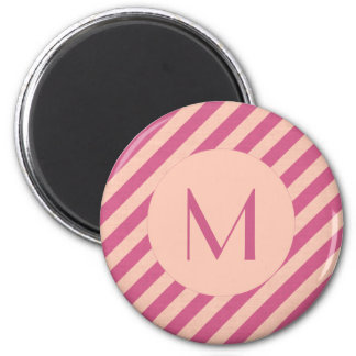 Monogram Pink Dusk and Fuchsia Stripes Magnet