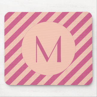 Monogram Pink Dusk and Fuchsia Stripes Mouse Pad