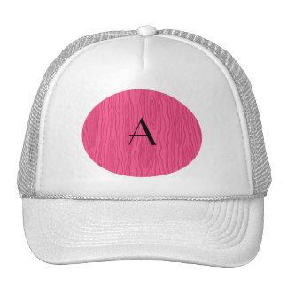 Monogram pink faux bois trucker hat