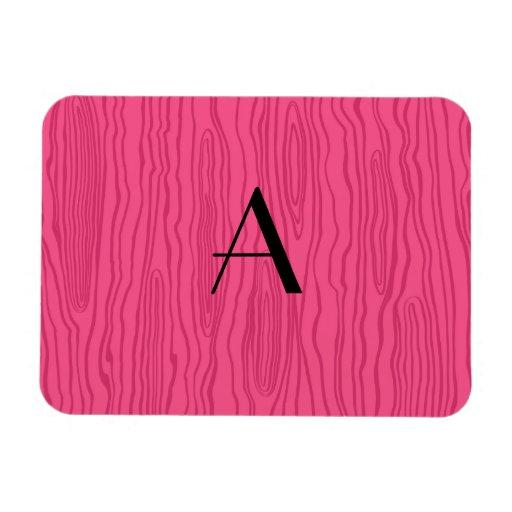 Monogram pink faux bois rectangle magnets