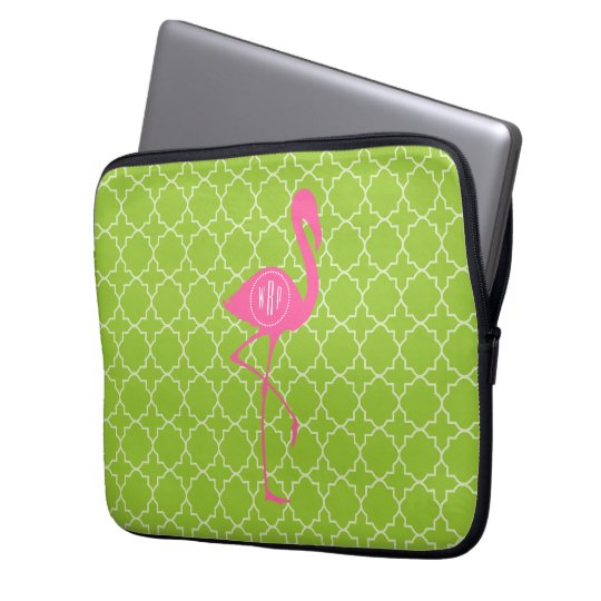 Monogram Pink Flamingo Lime Green Quatrefoil Laptop Sleeve