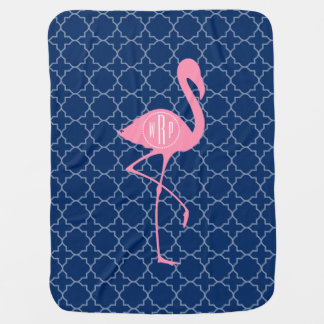 Monogram Pink Flamingo Navy Quatrefoil Baby Blanket