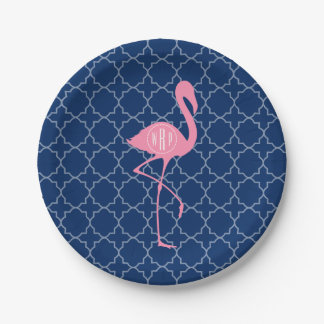 Monogram Pink Flamingo Navy Quatrefoil Paper Plate