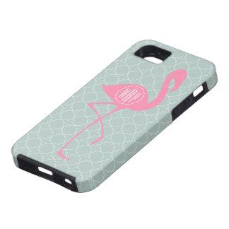 Monogram Pink Flamingo + Quatrefoil iPhone 5 Cover