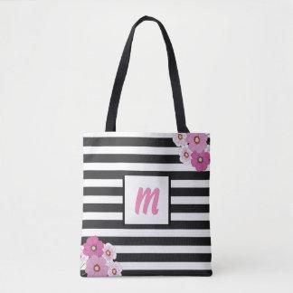 Monogram Pink Flowers Tote Bag for Mom