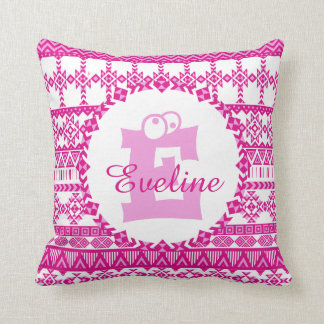 Monogram Pink Girly Aztec Tribal Pattern Cushion