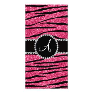 Monogram pink glitter zebra stripes circle customized photo card
