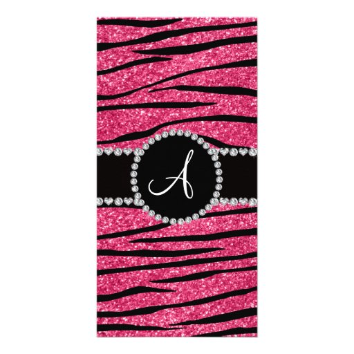 Monogram pink glitter zebra stripes circle photo card template