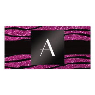 Monogram pink glitter zebra stripes photo card