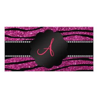 Monogram pink glitter zebra stripes photo cards
