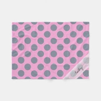 Monogram Pink Gray Chic Polka Dot Pattern Fleece Blanket