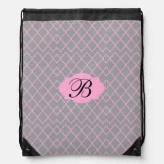Monogram Pink Grey Drawstring Backpack