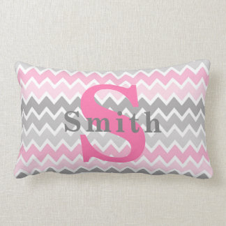 Monogram Pink Grey Gray Ombre Chevron Pattern Girl Lumbar Pillow