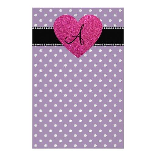 Monogram pink heart purple diamonds stationery design