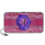 Monogram pink lace purple rose laptop speakers
