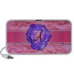 Monogram pink lace purple rose portable speaker
