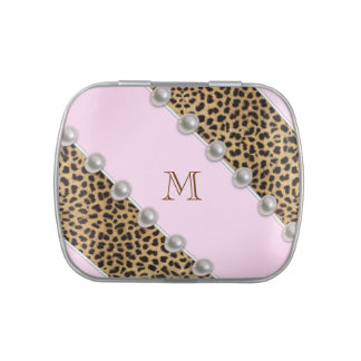 Monogram Pink Leopard Candy Candy Tins