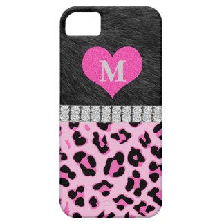Monogram, Pink Leopard print, iPhone 5 Case