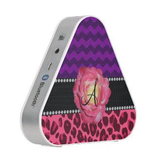 Monogram pink leopard purple chevrons bluetooth speaker