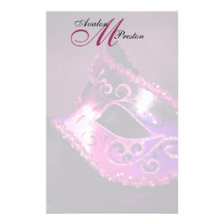 Monogram Pink Masquerade Wedding Stationery