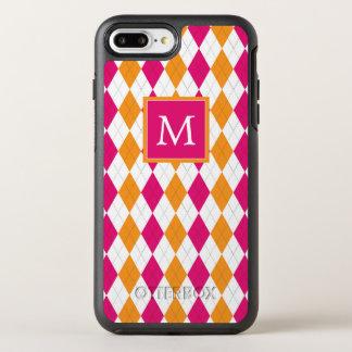 Monogram | Pink & Orange Argyle OtterBox Symmetry iPhone 8 Plus/7 Plus Case