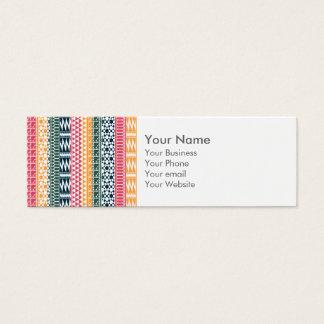 Monogram Pink Orange Blue Geo Aztec Tribal Pattern Mini Business Card