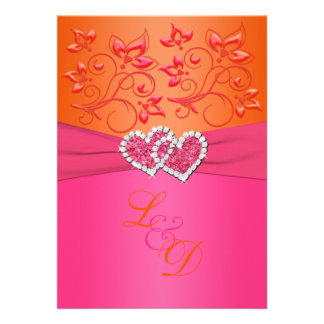 Monogram Pink Orange Floral Joined Hearts Invite