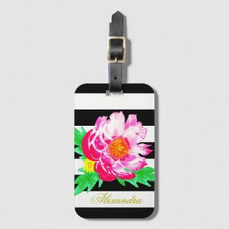 Monogram Pink Peony Black & White Luggage Tag