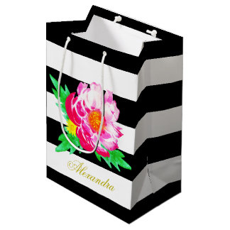 Monogram Pink Peony Flower Black & White Gift Bag