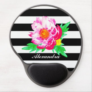 Monogram Pink Peony on Black & White Gel Mousepad
