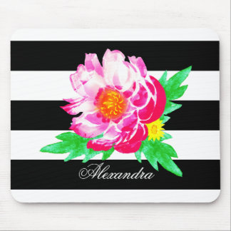 Monogram Pink Peony on Black / White Mousepad