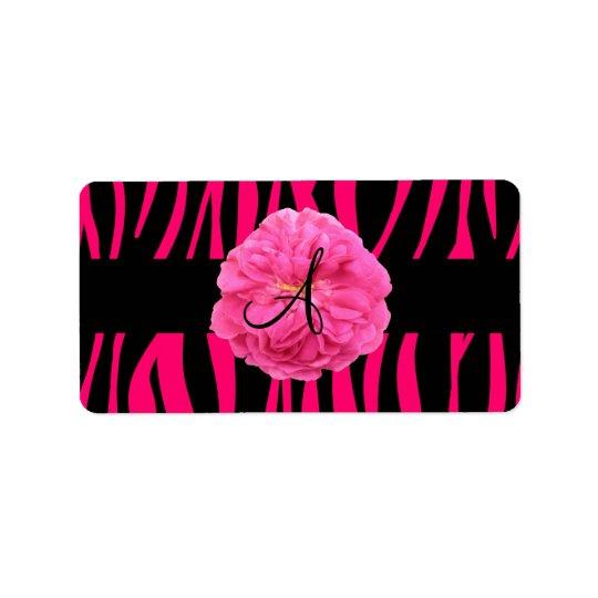 Monogram pink peony zebra stripes label