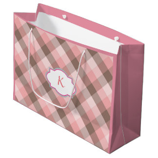 Monogram. Pink Plaid. Large Gift Bag