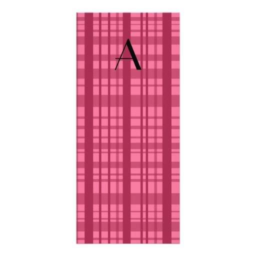 Monogram pink plaid personalized rack card