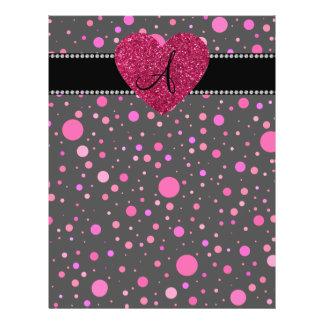 Monogram pink polka dots pink heart 21.5 cm x 28 cm flyer
