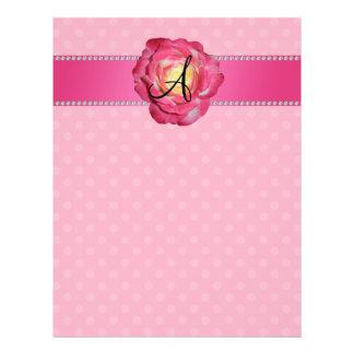 Monogram pink polka dots pink rose 21.5 cm x 28 cm flyer