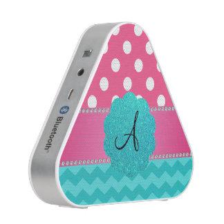 Monogram pink polka dots turquoise chevrons speaker