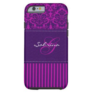 Monogram Pink, Purple Damask Stripe iPhone 6 case  Tough iPhone 6 Case