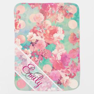 Monogram Pink Retro Floral Pattern Teal Polka Dots Baby Blanket