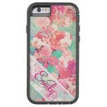 Monogram Pink Retro Floral Pattern Teal Polka Dots Tough Xtreme iPhone 6 Case