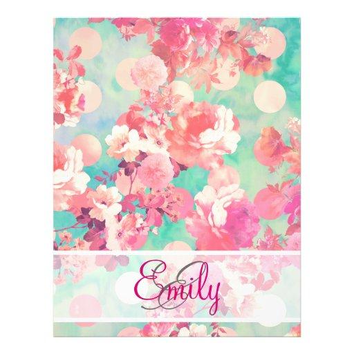 Monogram Pink Retro Floral Pattern Teal Polka Dots Full Color Flyer
