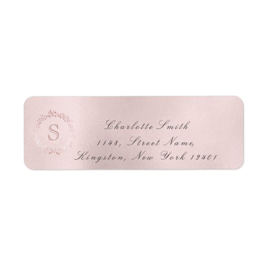 Monogram Pink Rose Bridal Wreath Blush RSVP Return Address Label
