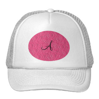Monogram pink roses faux texture hat