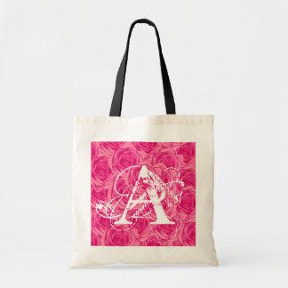 Monogram Pink Roses ToteBag Letter A