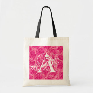 Monogram Pink Roses ToteBag Letter A Canvas Bags