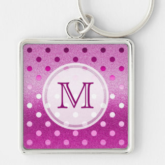Monogram: Pink Sparkle Polka-dot Keychain