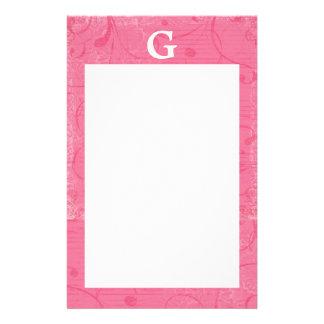 Monogram Pink Stationary Customised Stationery